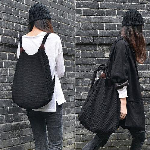 Black Knit 2 ways Bag- Tote Bag and Backpack