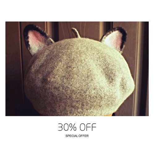 French Chic Wool Felted Cat Ears Beret Hat
