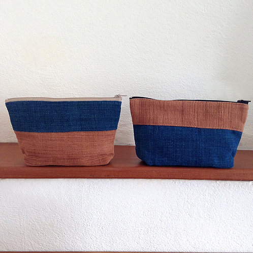 Handwoven Natural Dye Unisex Pouch Set of 2- Blue+Brown