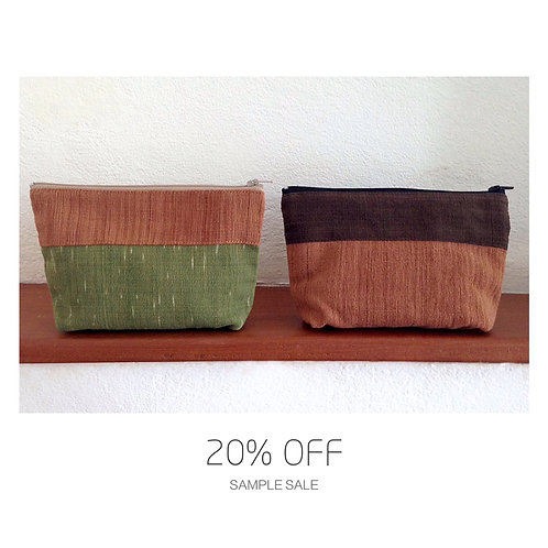 SAMPLE SALE Handwoven Natural Dye Unisex Pouch Set of 2- Green+Brown