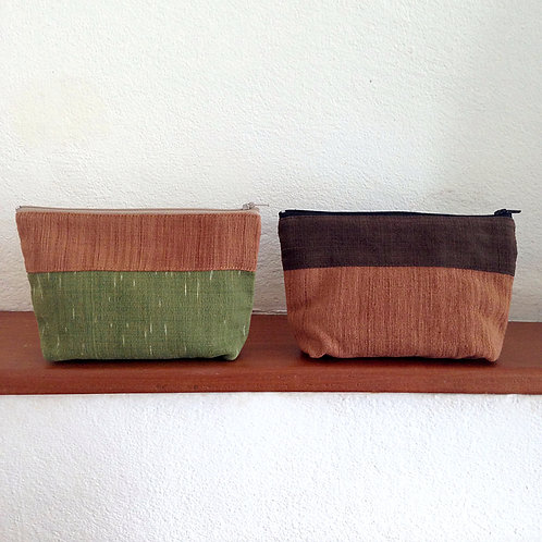Handwoven Natural Dye Unisex Pouch Set of 2- Green+Brown