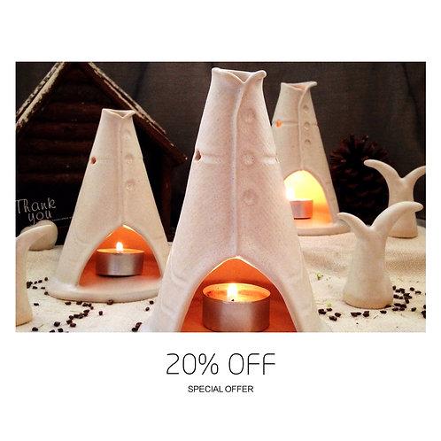 Teepee Candle Holder/Incense Burner - Satin white