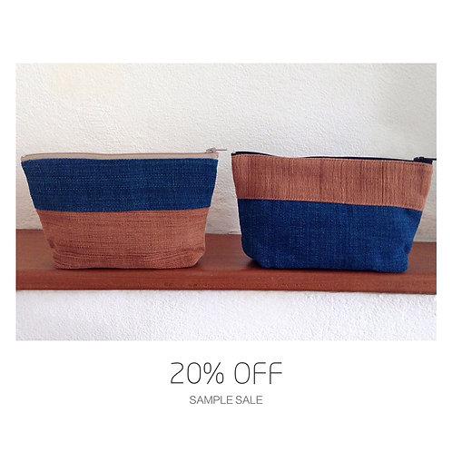 SAMPLE SALE 大地植物染手織布收納包組-藍色棕色(一組兩個)