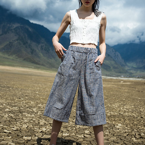 Urban Casual Blue Striped Cropped Trousers