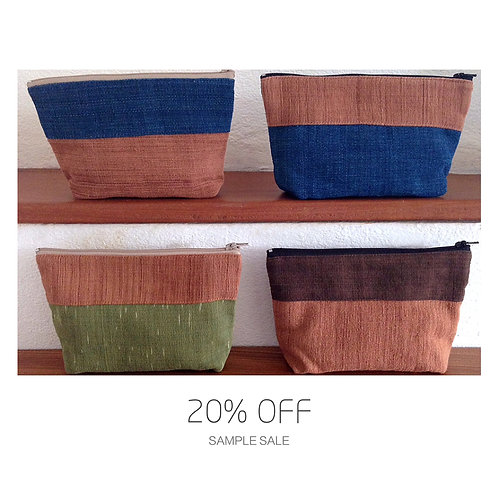 SAMPLE SALE Handwoven Natural Dye Unisex Pouch Set of 4 Different Colour