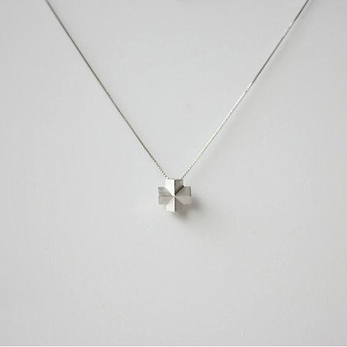 都會幾何3D立體十字項鍊 - 925純銀/ 18K金