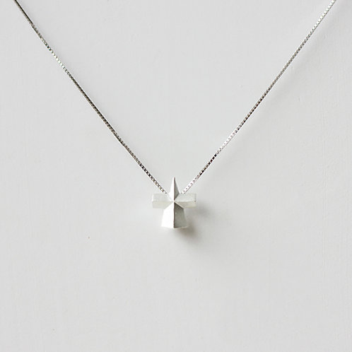 Elegent Geometry 3D Triangular Pyramid Cross Necklace- 925 Sliver