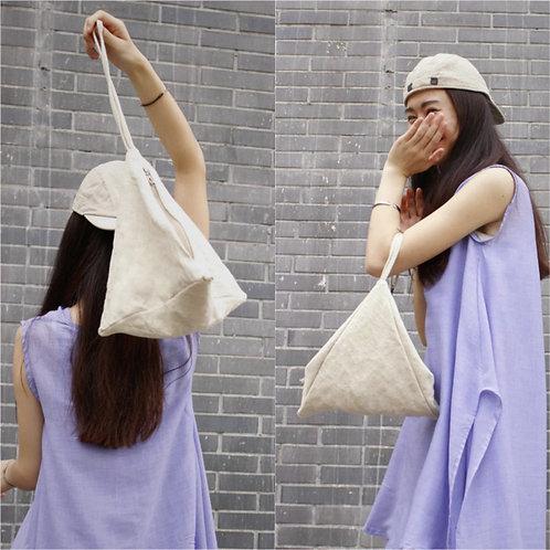 Cotton Linen Triangle 2 Ways Handbag