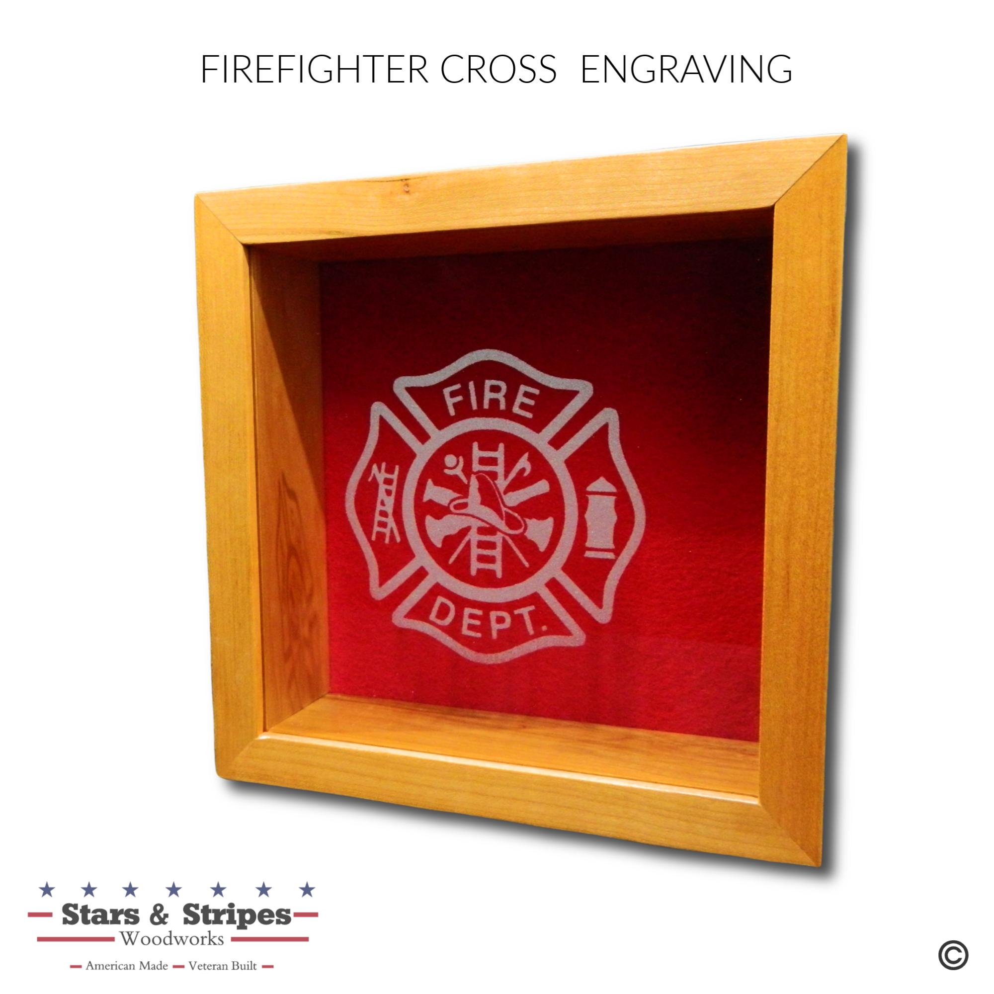 Firefighter Cross Glass Engraving Sample