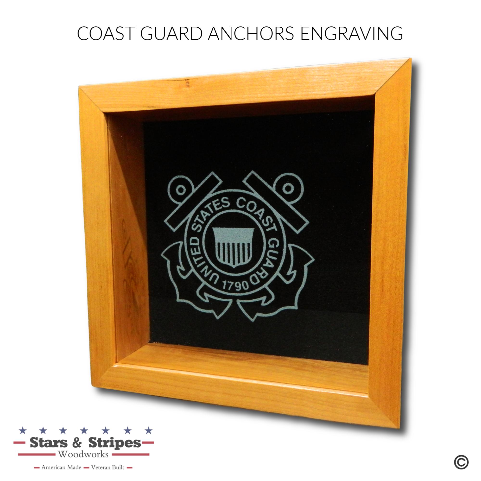 Coast Guard Anchors Glass Engraving Samp