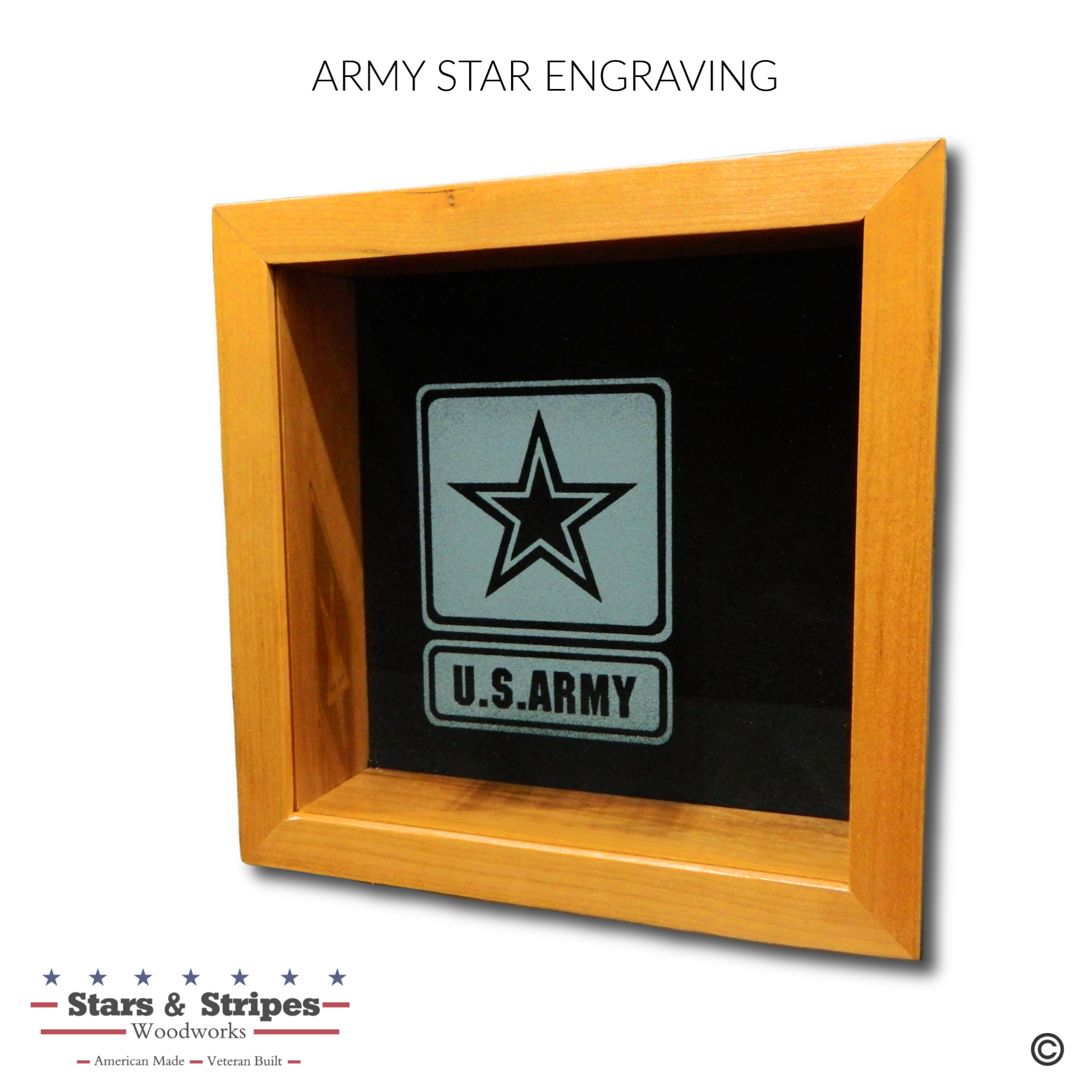 Army Star Glass Engraving Sample
