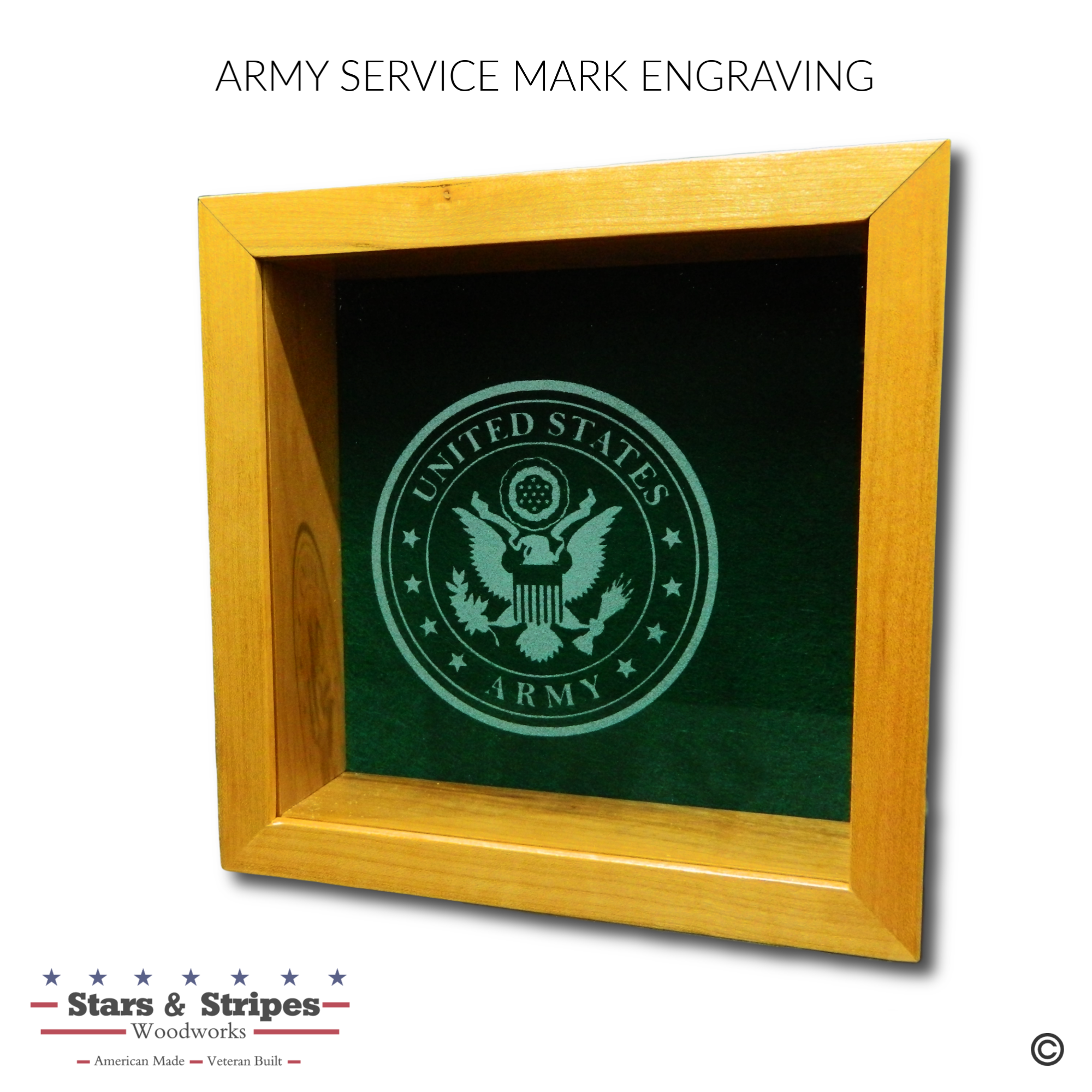 Army Service Mark Glass Engraving Sample