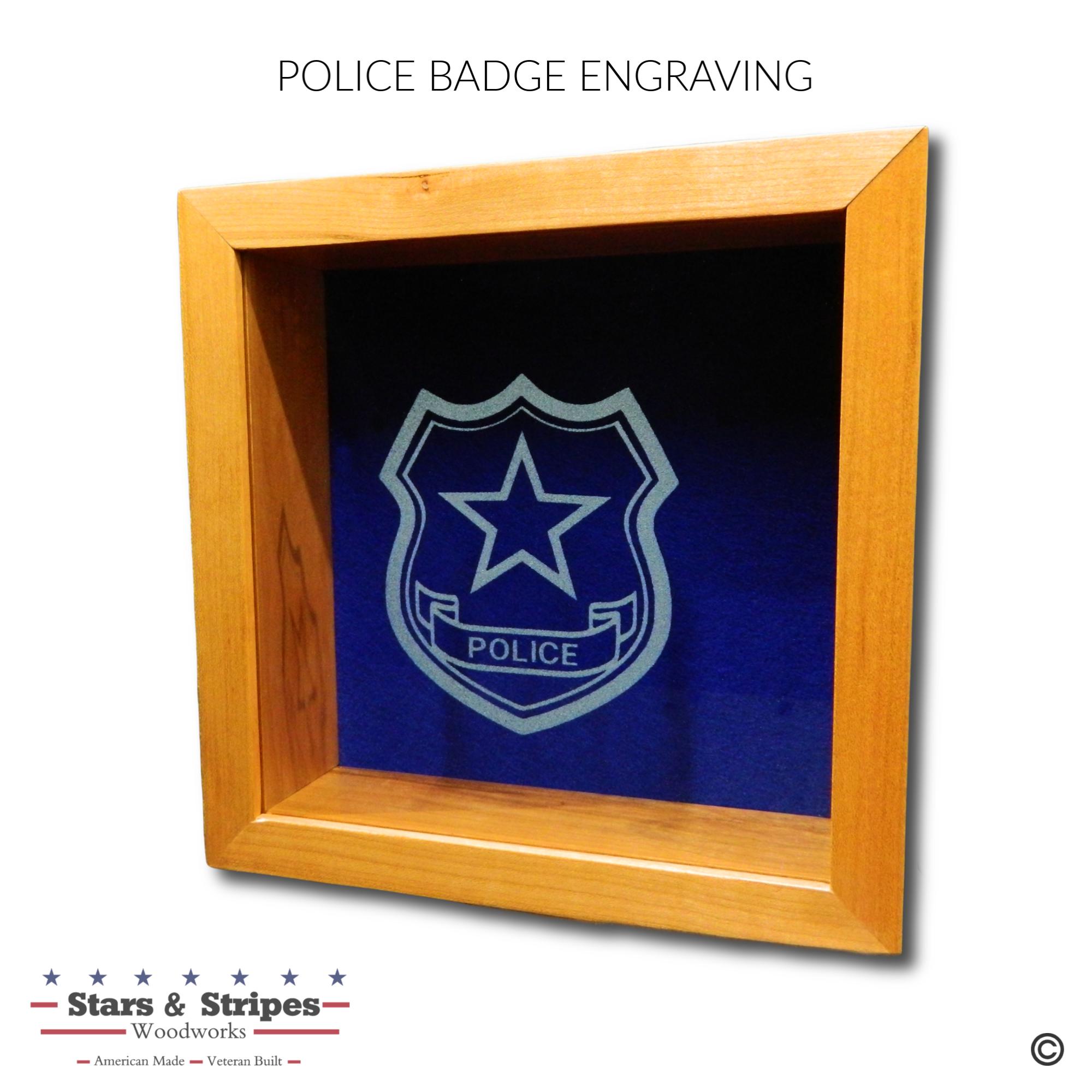 Police Badge Glass Engraving Sample