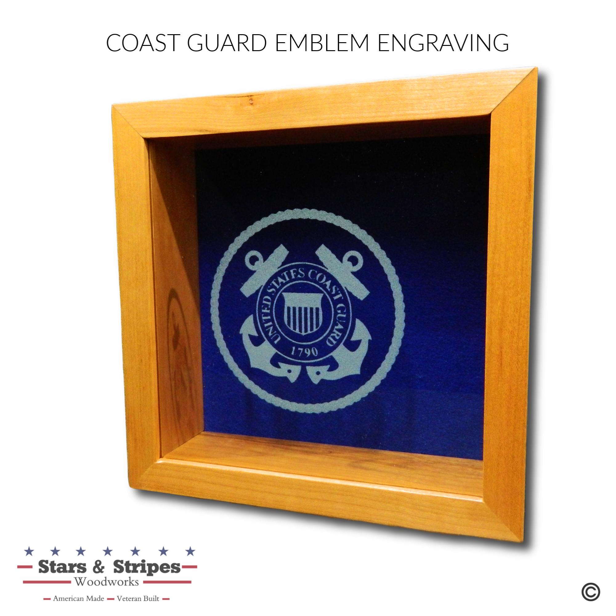 Coast Guard Emblem Glass Engraving Sampl