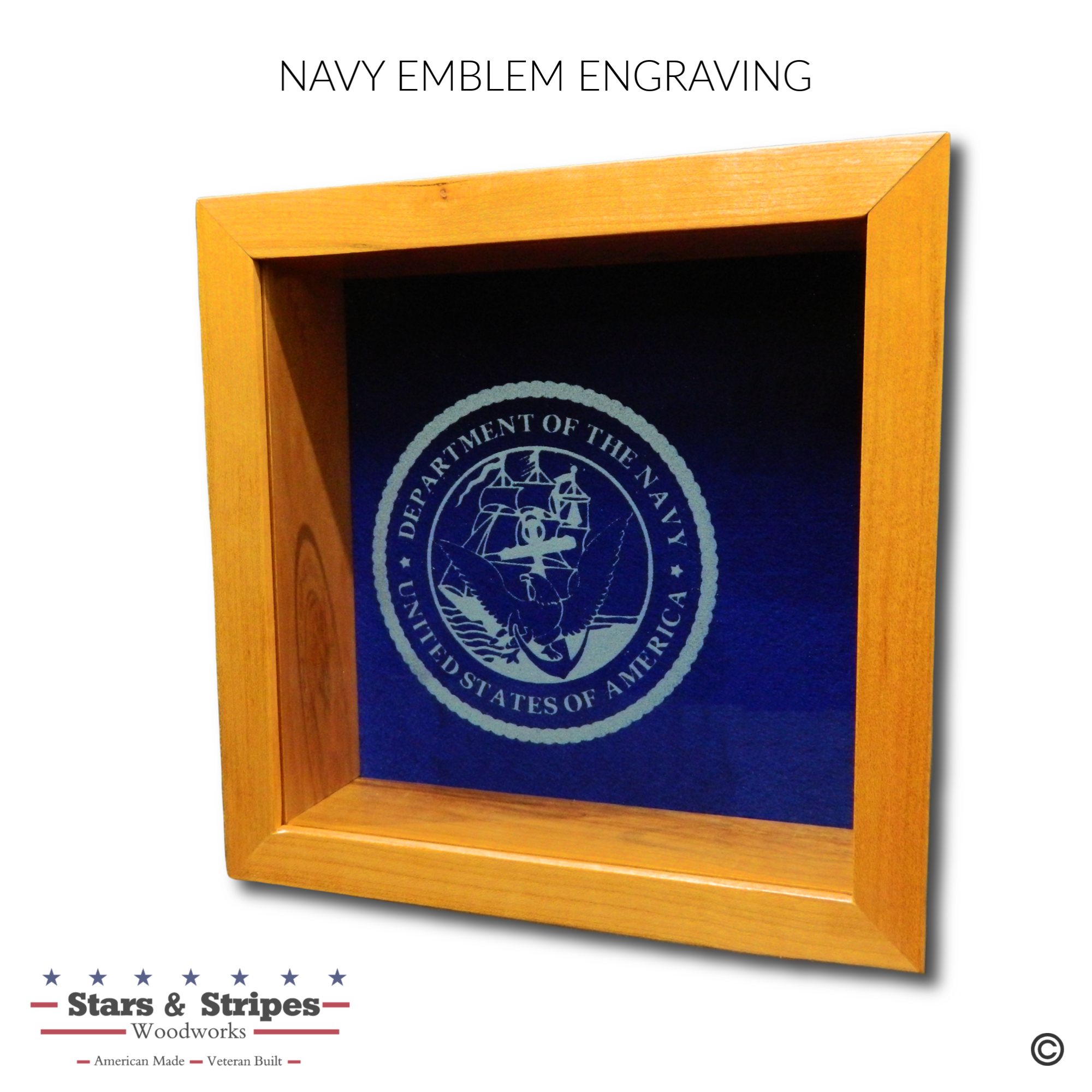 Navy Emblem Glass Engraving Sample