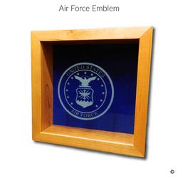 Air Force Emblem Glass Engraving Option.