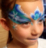 Frozen face painting, mask, snowflakes, bling, glitter.