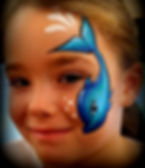 blue, dolphin, cheek art, face painting.