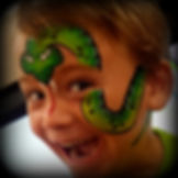 green, snake, face painting.