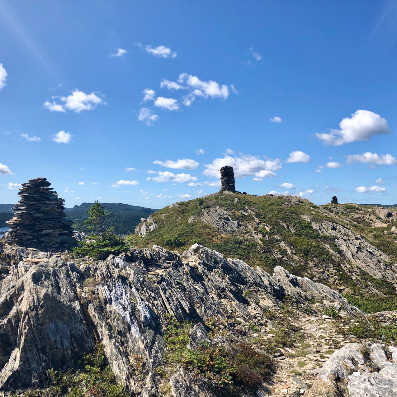 rock stacks at the top of spectacle head trail in Newfoundland