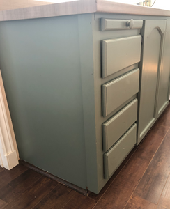 cabinets are fully painted with Rainy Afternoon and hung