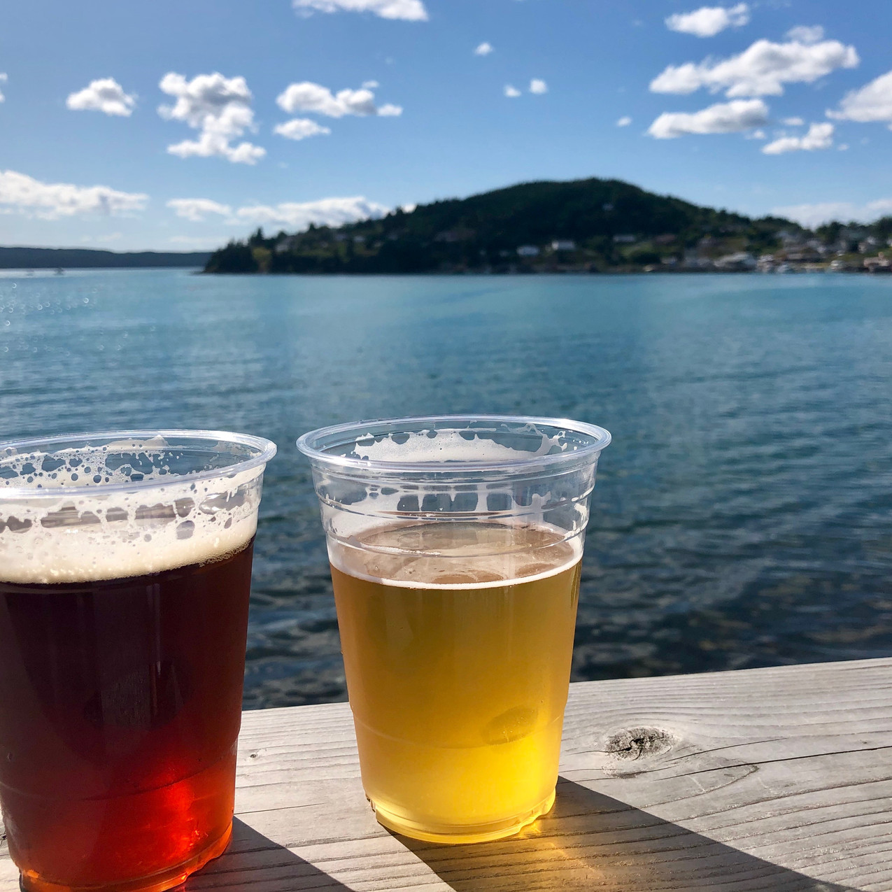 Red Rock Ale & Salt Water Sour perched beside the ocean on a deck