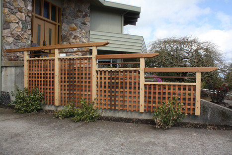 Trellis fixed to wall.  Port Orford Cedar, Western Red Cedar, and copper pipe.