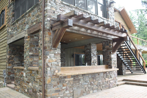 Outdoor kitchen timber awning