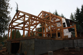 Timber frame house addition, Beavercreek, OR