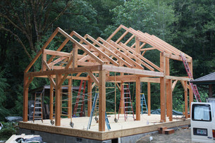 Alsea, OR cabin frame with Confluence Design and Construction