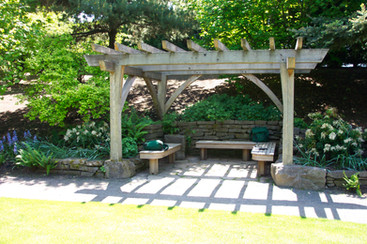 Port Orford Cedar pergola with DeSantis Landscapes, Inc., 10 yrs old