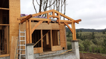 Bedroom porch frame, Philomath, OR with Confluence Design and Construction