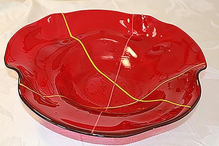 LauraFramCowan Red Petal Bowl glass 4inX16in.jpg