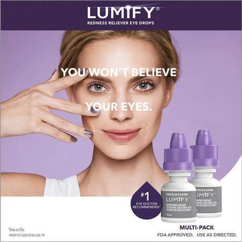 Lumify eye drops ad placement. Woman holding her hand to her face against a purple background. Two lumify bottles included.