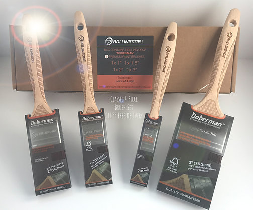 BOX Set of 4 'Doberman' Premium Brushes