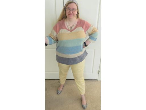 OOTD: Striped Sweatshirt & Beaded Stretch Bracelets
