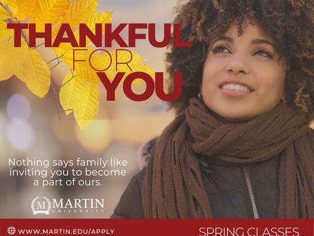 New & Returning Students: We are Thankful for You!