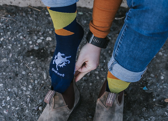Blue and Yellow Bangtail Socks