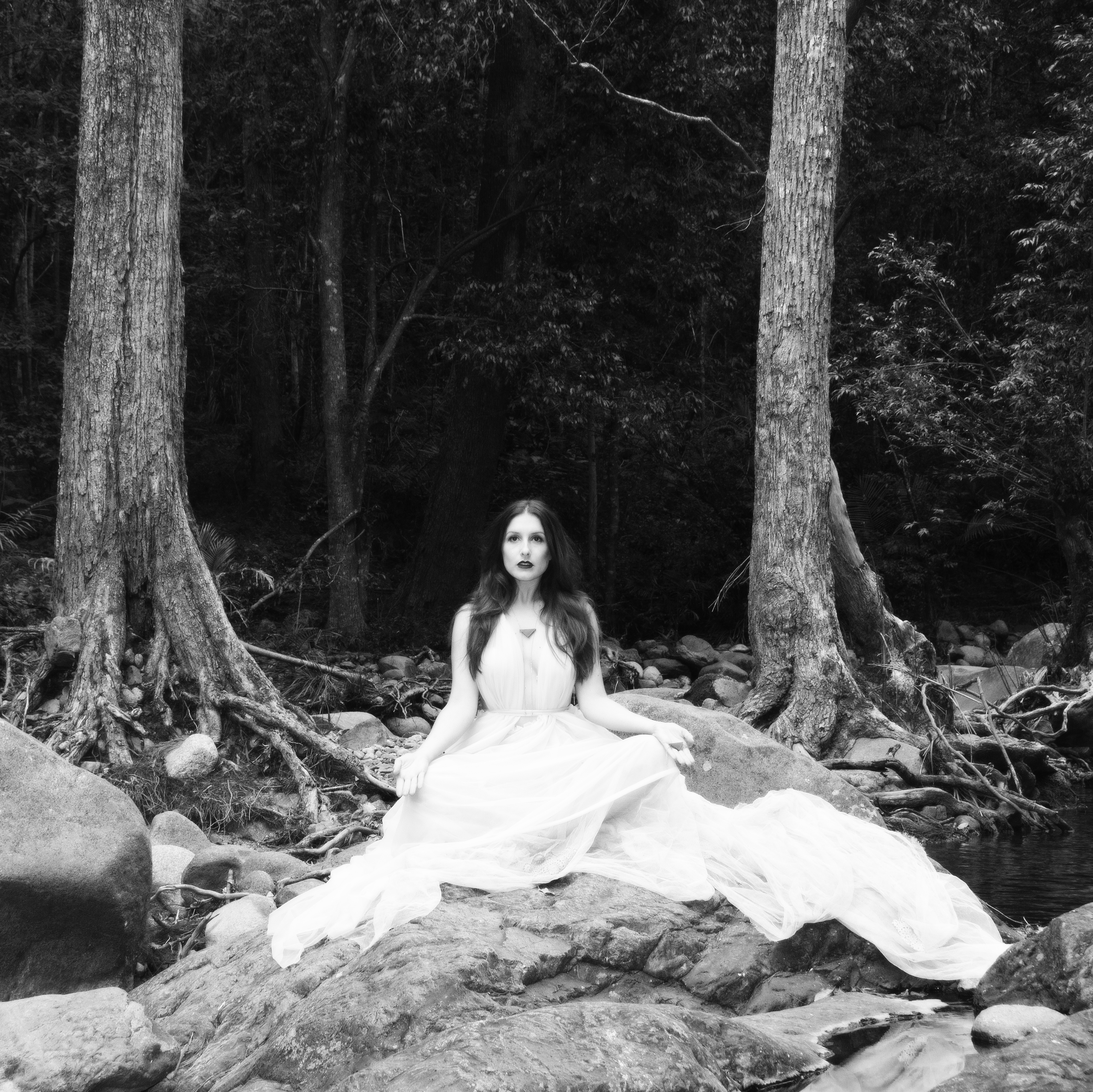 B&W goddess in rain forest