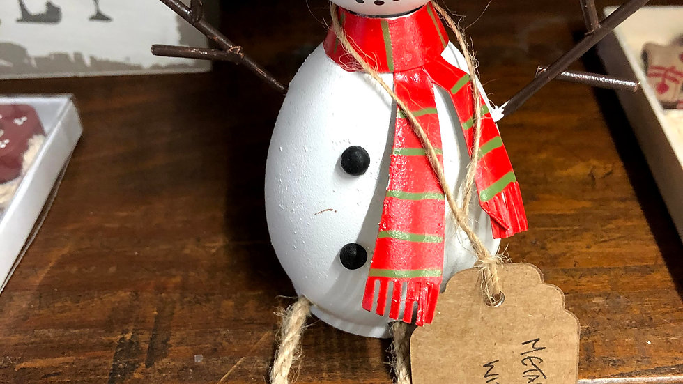Metal Snowman with Scarf