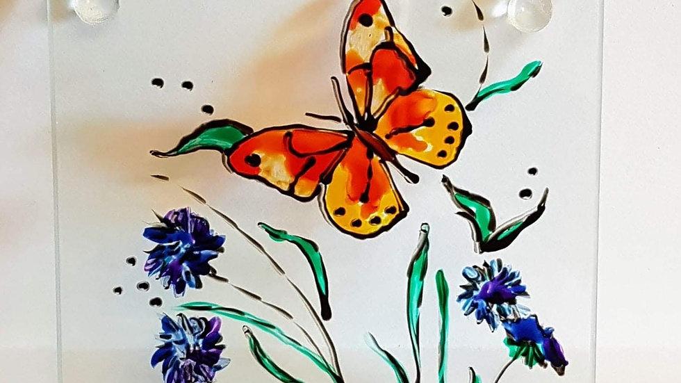 Butterfly Flower Glass Coaster