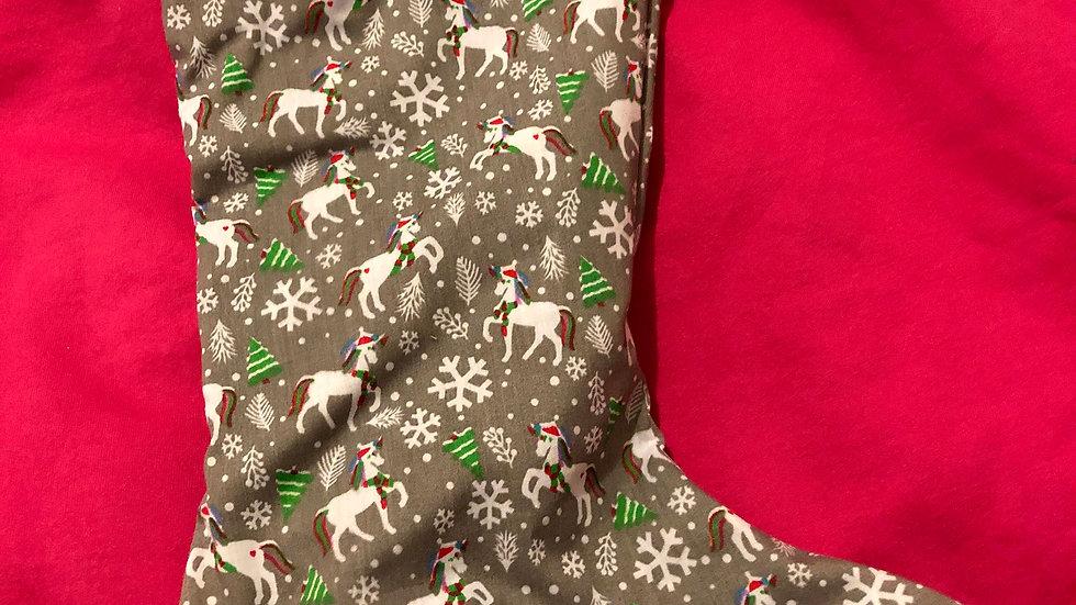 Grey Unicorn Christmas Stocking