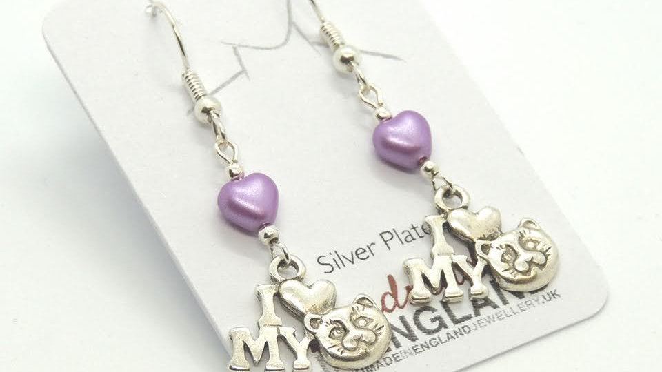 Cat Style Earrings Silver Plate