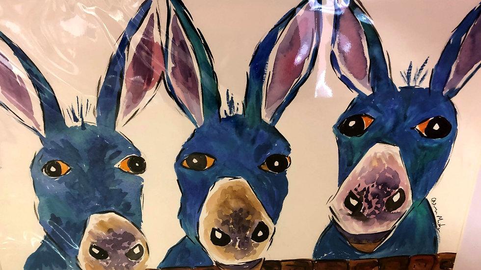 3 Blue Donkeys Watercolour