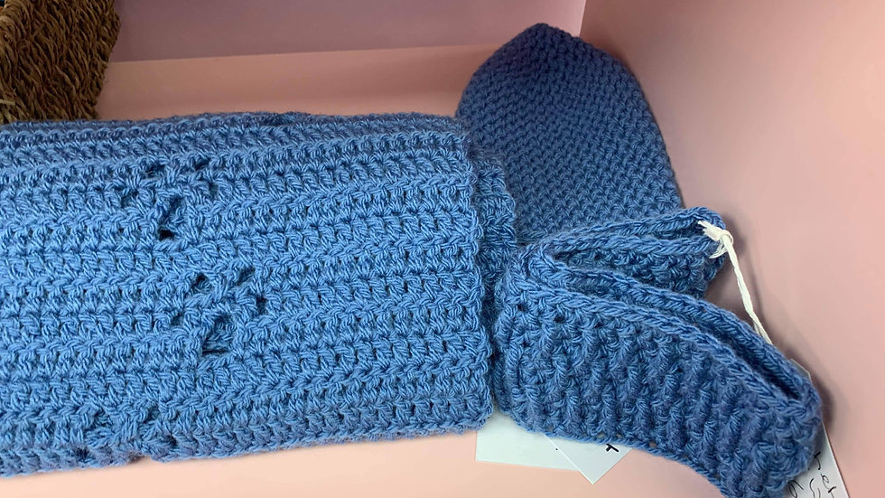 Blue crochet scarf