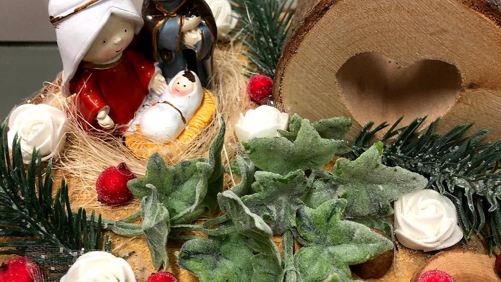 Nativity display table setting with Tea light