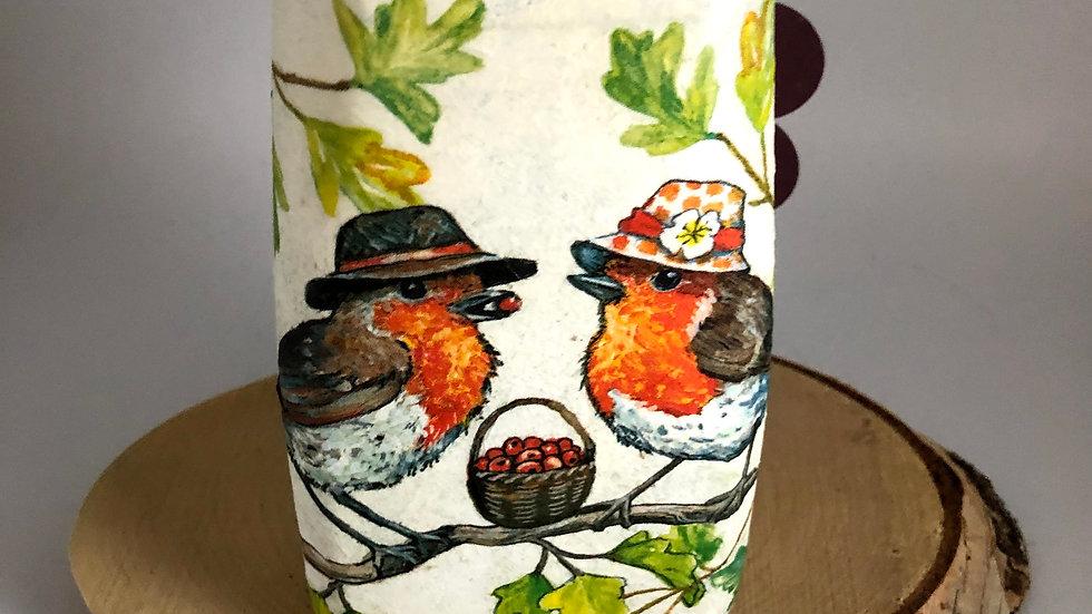 10cm Decoupage Robin Mr & Mrs