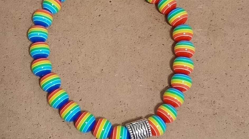 Rainbow Bracelet with love Embellishment