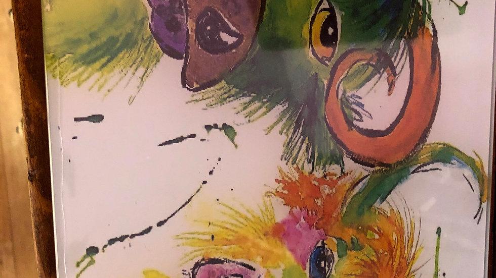 Colourful H/Land Cows Chopping Board