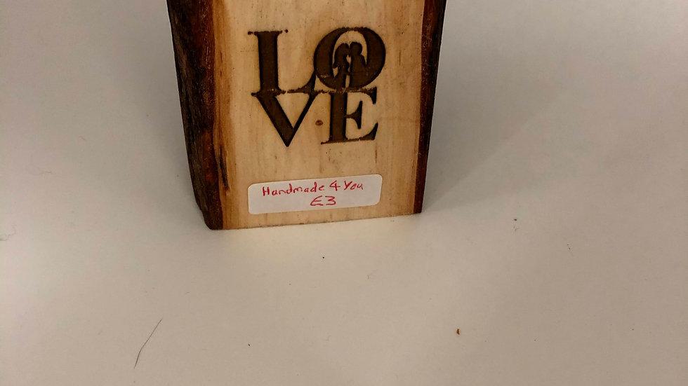 Love Tea light Candle Wooden
